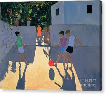 Footballers Canvas Print by Andrew Macara