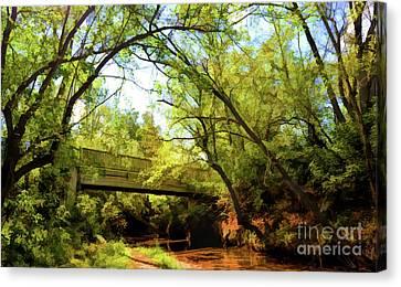 Canvas Print featuring the photograph Footbridge At Bisset Park - Radford Virginia by Kerri Farley