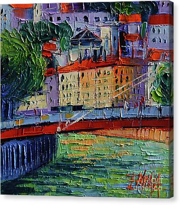 Footbridge On The Saone River Canvas Print by Mona Edulesco