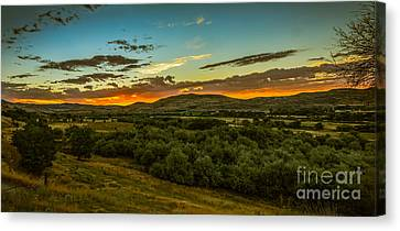 Haybales Canvas Print - Foothills Sunrise by Robert Bales