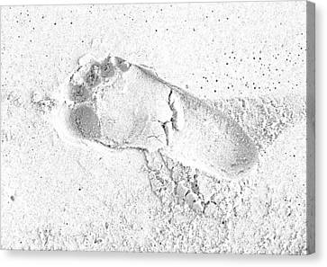 Footprint In The Sand Canvas Print by Patrick Kain