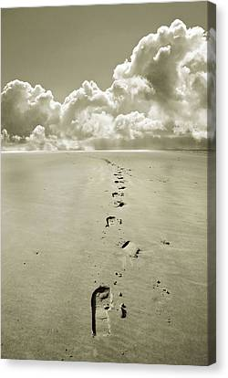 Footprints In Sand Canvas Print by Mal Bray