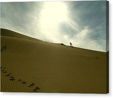 Footprints In The Sand Canvas Print by Diane Height