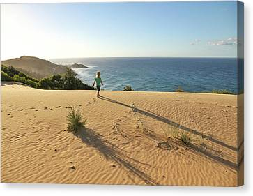 Footprints In The Sand Dunes Canvas Print