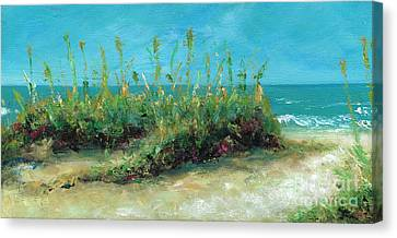 Footprints In The Sand Canvas Print by Frances Marino