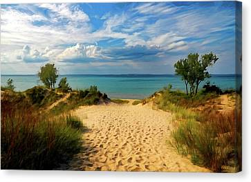 Canvas Print featuring the painting Footprints In The Sand P D P by David Dehner
