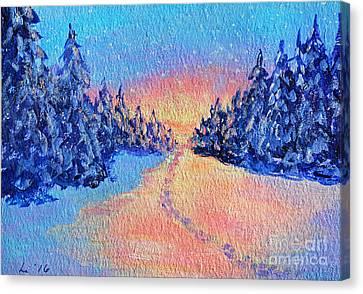 Footprints In The Snow Canvas Print by Li Newton