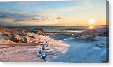Canvas Print featuring the photograph Footprints In The Snow by Robin-Lee Vieira