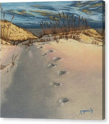 Footprints In The Snowy Dunes Canvas Print
