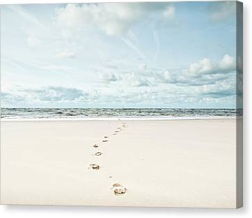 Footprints Leading Into Sea Canvas Print by Dune Prints by Peter Holloway