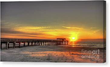 Footsteps In The Sand Tybee Pier Art Canvas Print