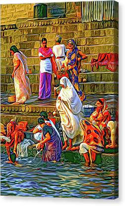 Ganges Canvas Print - For Women Only - Paint by Steve Harrington