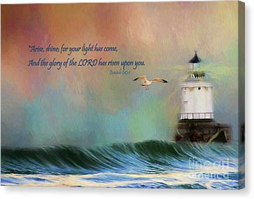 Flying Seagull Canvas Print - For Your Light Has Come by Darren Fisher