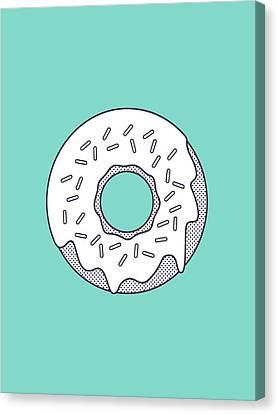 Forbidden Doughnut - Lineart Mint Canvas Print by Ivan Krpan