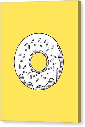 Forbidden Doughnut - Lineart Yellow Canvas Print by Ivan Krpan