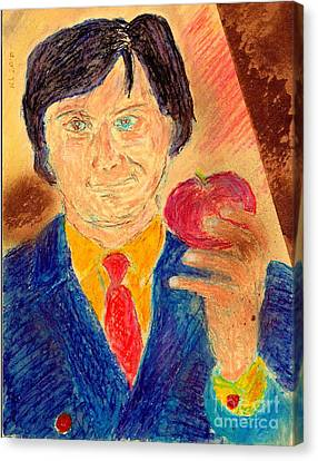 Canvas Print featuring the painting Forbidden Fruit From Steve Jobs by Richard W Linford