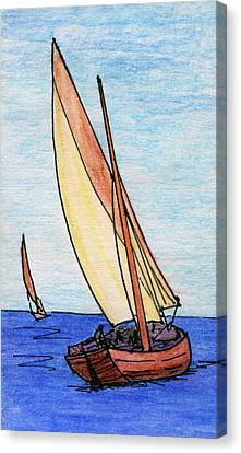 Water Vessels Canvas Print - Force Of The Wind On The Sails by R Kyllo