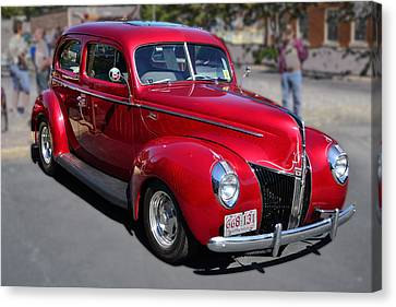 Ford 40 In Red Canvas Print by Larry Bishop