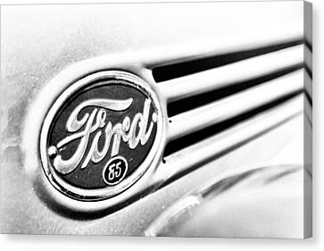Canvas Print featuring the photograph Ford 85 In Black And White by Caitlyn Grasso