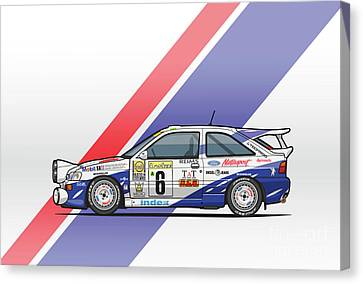 Ford Escort Mk5 Rs Cosworth Group A Rally Monte Carlo 1994 Canvas Print by Monkey Crisis On Mars