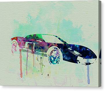 Ford Gt Watercolor 2 Canvas Print by Naxart Studio