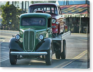 Ford Hauls Chevy Canvas Print by Bill Dutting