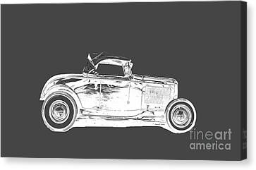 Ford Hot Rod Invert White Ink Tee Canvas Print by Edward Fielding