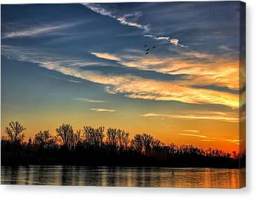 Ford Lake Sunset Canvas Print by Pat Cook