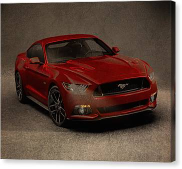 Ford Mustang 2015 Watercolor Pencil Charcoal Sketch On Worn Distressed Canvas Canvas Print