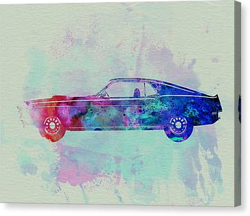 Power Canvas Print - Ford Mustang Watercolor 1 by Naxart Studio