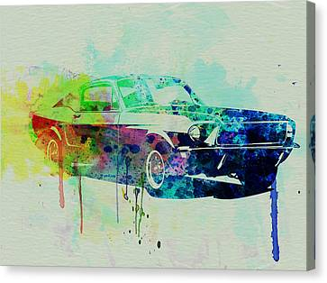 Power Canvas Print - Ford Mustang Watercolor 2 by Naxart Studio