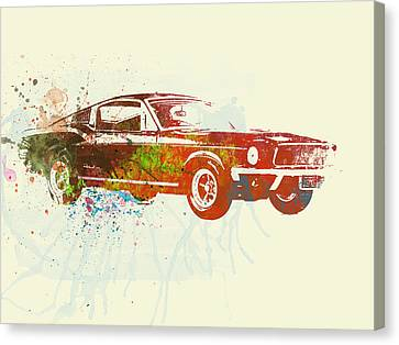Vintage Car Canvas Print - Ford Mustang Watercolor by Naxart Studio