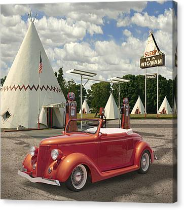 Ford Roadster At An Indian Gas Station 2 Canvas Print by Mike McGlothlen
