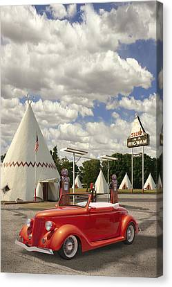 Ford Roadster At An Indian Gas Station Canvas Print by Mike McGlothlen