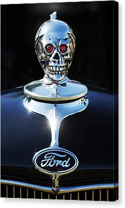 Ford Skull Hood Ornament Canvas Print