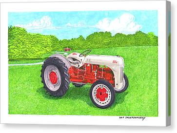 Canvas Print featuring the painting Ford Tractor 1941 by Jack Pumphrey