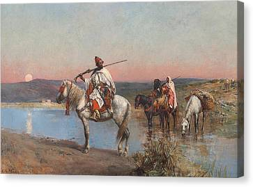 Fording A Stream Canvas Print by Edwin Lord Weeks