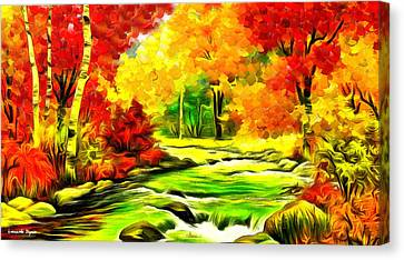 Forest And River - Da Canvas Print
