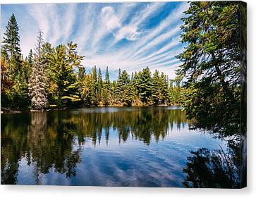 Forest And Sky Reflecting In Lake Canvas Print by Thomas Richter