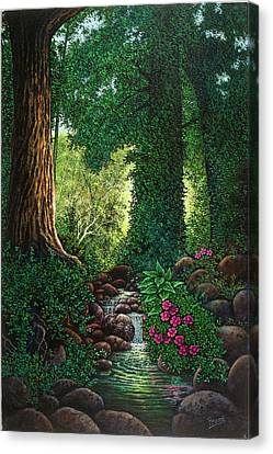 Canvas Print featuring the painting Forest Brook II by Michael Frank