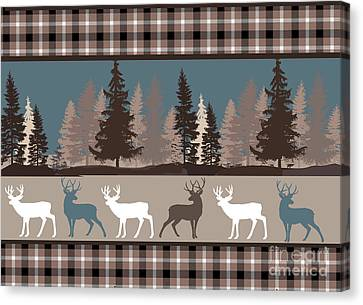 Log Cabins Canvas Print - Forest Deer Lodge Plaid II by Mindy Sommers