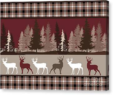 Log Cabins Canvas Print - Forest Deer Lodge Plaid by Mindy Sommers