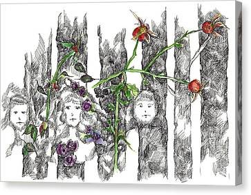Canvas Print featuring the drawing Forest Faces by Cathie Richardson
