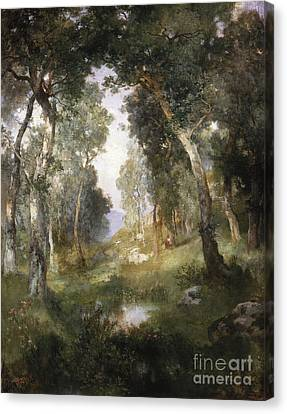 1918 Canvas Print - Forest Glade by Thomas Moran