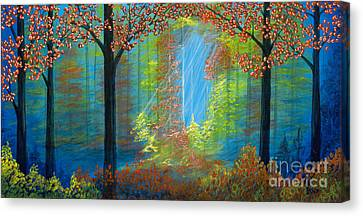 Forest Glow Canvas Print by Rebecca Parker