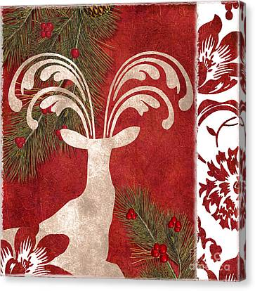 Christmas Flower Canvas Print - Forest Holiday Christmas Deer by Mindy Sommers