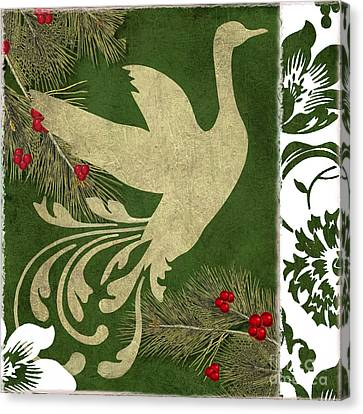 Christmas Flower Canvas Print - Forest Holiday Christmas Goose by Mindy Sommers