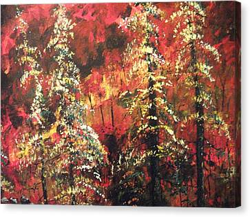 Canvas Print featuring the painting Forest In The Red by Dan Whittemore