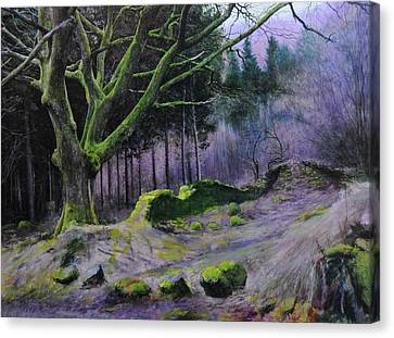 Canvas Print featuring the painting Forest In Wales by Harry Robertson