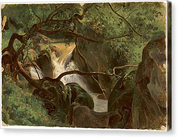 Forest Interior With A Waterfall Papigno Canvas Print